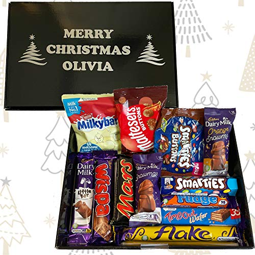Personalised Chocolate Hamper Selection Box Secret Santa Gift Present Idea Brother Sister Girlfriend Boyfriend Galaxy Dairy Milk Smarties