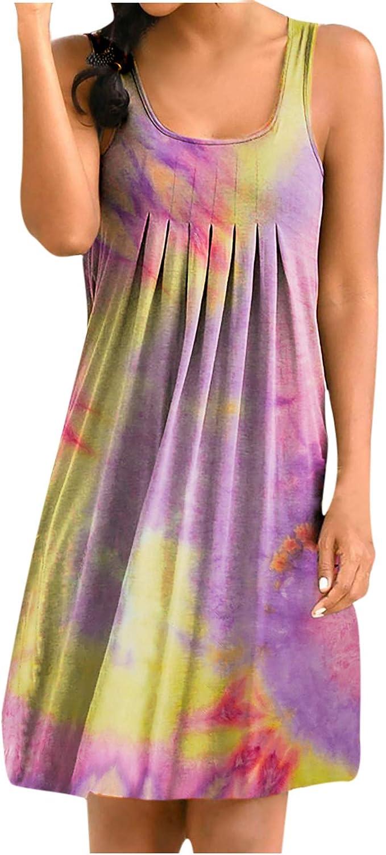 Womens Summer Tank Dress Tie-Dye Gradient Sleeveless Round Neck Basic Midi Club Dress Swing Dresses