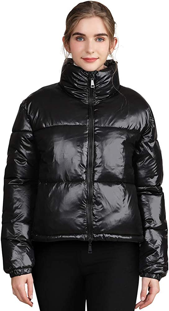 Womens Winter Shiny Puffer Jacket, Casual Plus Size Short Quilted Parka Jacket Down Cotton Padded Coat Outerwear