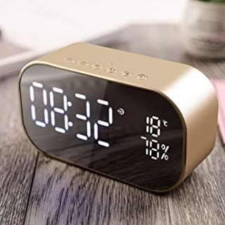 Digital Alarm Clock, LED Mirror Speaker FM Radio Wireless Bluetooth Speaker with Thermometer, Dual Alarm with Snooze, TF Card Slot, USB Charging Port, FM Radio/AUX-in for Office Bedroom(Gold)