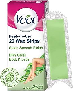 Veet Full Body Waxing Strips Kit for Dry Skin, 20 Strips