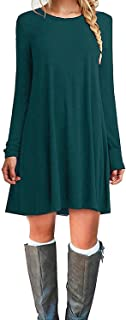 MOLERANI Women's Casual Plain Simple Long Sleeve T-Shirt Loose Dress