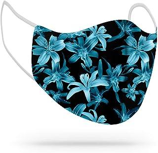 Máscara de Proteção Facial Personalizada Estampada Tecido Reutilizável Lavável Floral