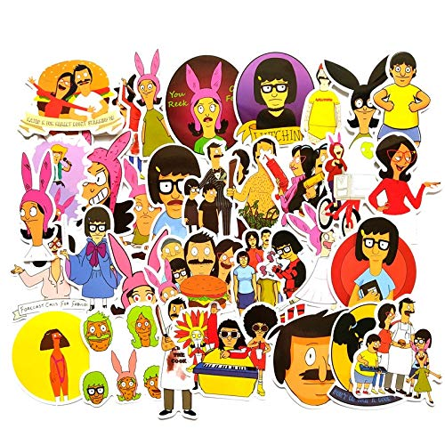 Pegatinas de dibujos animados NANANA Bobs Burgers divertidas pegatinas para portátil equipaje monopatín motocicleta botella calcomanías graffiti 100 piezas