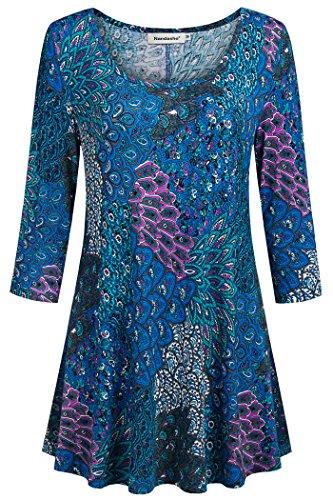 3/4 Sleeve Shirts for Women,Nandashe Womans Peplum Round Collar Short Sleeve Dressy Basic Tops Formal Asian Drape Hemline Rehinestone Empire Waist Sweatshirts Party Wear Clothes Turquoise Size 1x