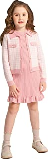 SMILING PINKER Girl Ribbed Knit Sleeveless Dress and Houndstooth Cardigan Sweater Winter Set