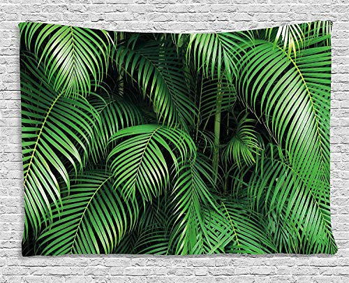 Wihuae Green Tapestry, Tropical Exotic Palm Leaves Branches Botanical Photo Jungle Garden Nature Eco Theme, Wide Wall Hanging for Bedroom Living Room Dorm, 60' X 40', Green