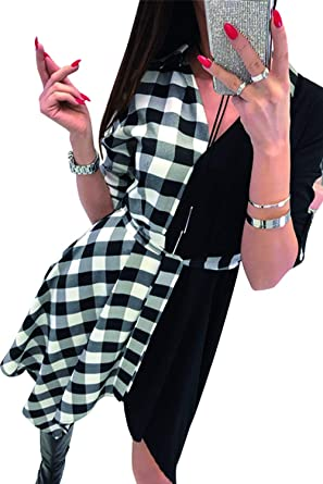 LAIKETE Camicia a Quadri Donna Swing Vestiti Pullover Asimmetrica Elegante Moda Manica Lunga con Cintura Felpa Scollo V Spacchi Laterali T-Shirt Sweatshirt Lunghe Ragazza Tumblr Blusa Mini Dress