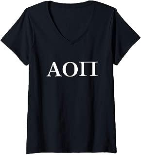 Womens Alpha Omicron Pi Sorority Letters Greek Sister University V-Neck T-Shirt