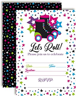 Let's Roll Star Roller Skating Birthday Party Invitations, 20 5