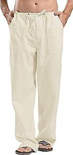 Jhsnjnr Men's Casual Loose Linen Elastic Waist Straight Pants Loose Beach Pant with Drawstring