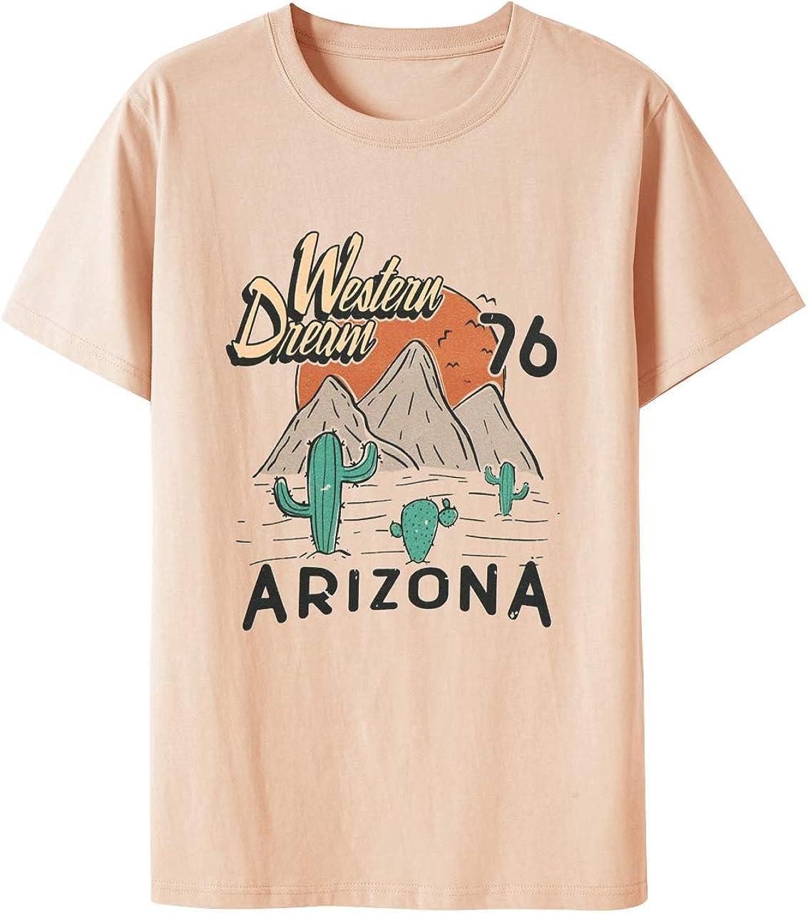 Desert Cactus Tee Women Western Sunset Graphic Shirt Rock Music Short Sleeve Top
