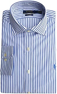 9f6cf90ef Eligible for FREE Delivery. Ralph Lauren Polo Shirt White Blue Stripe Mens  Custom Regent