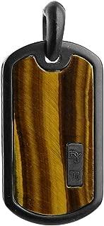 Gorgeous Black Titanium Inlay Tiger Eye Large 35 mm Dog TAG #53P