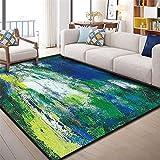 RUGMYW Bonitas Alfombra Outlet Elementos Abstractos moteados Verde Amarillo Blanco Azul alfombras Pelo Corto Salon 80X120cm