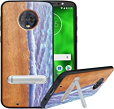 HHDY Compatible with Moto G6 Case with Metal Kickstand, Hard Natural Wood Back, TPU Bumper, Wooden Cover for Motorola Moto G6, Wave