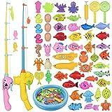 ZWOOS Juguete de Pesca para Niño 60 Piezas Juguete de Pesca Magnético con Caña Flotando Peces y Tarjeta para NiñosJuego de Pesca para Baño y Deportes al Aire Libre para Bebe (60pcs)