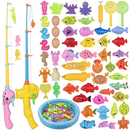 ZWOOS Angeln Spielzeug, 59 Stück Magnetisches Angelspiel Badespielzeug Badewannenspielzeug Wasserspielzeug Badewanne Für Kleinkinder Kindern Spielzeug, Outdoor Spiele Lernspiel Kinder