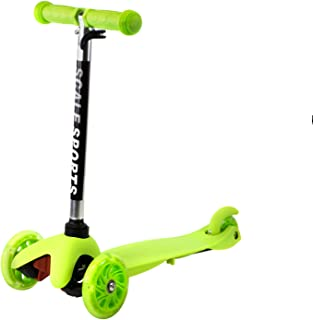 Kids Kick Scooter 3 Wheel Lean to Steer Adjustable Height T-Bar Ride On LED Wheels Up to 85 LB Age 3+