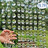 Crystal Beads Chandelier Chain BADBABY 19.6ft Clear Crystal Glass Beads Lamp Chain Sewing Beaded Trim Craft Cristal Beads for Home Garland Door Curtain Wedding DIY Jewelry Making Craft Projects Décor