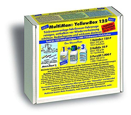 Multiman YellowBox Wassertankreinigung bei Neufahrzeugen (Beseitigung Kunststoffgeschmack und Schutz vor Verkeimung), Tankgröße:Tanks ab 75-250 l