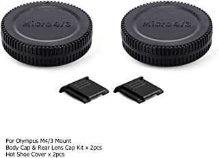 2 Pack Micro 4/3 Mount Body Cap Cover & Rear Lens Cap for Panasonic G9 G7 G85 G95 GH5 GH5S GH4 GH3 GX9 GX8 GX85 GF9 GF10 Olympus OM-D E-M1 E-M5 E-M10 Pen E-PL9 E-PL8 E-PL7 E-PL6 E-P3 E-P2 and More