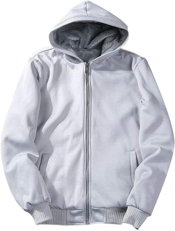 93efcb3d4 Joe Wenko Men's Loose Zip Plus Size Fleece Fleece Fleece Lined Hooded  Sweatshirts Jacket d15464