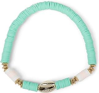 Pulsera de Mujer con Colgante de Concha y Perlas, Cinta elástica, Pulsera, Pulsera de Playa, Joyas 05040184