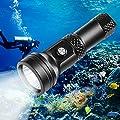 VOLADOR Scuba Diving Flashlight, DF40 4000 Lumen Underwater Dive Light with Power Indication, CREE XHP 70 LED IPX-8 Waterproof Night Dive Torch, Rechargeable 26650 Battery, Charger, Lanyard from Shen Zhen Qian Hai Wo Lan De Ke Ji You Xian Gong Si