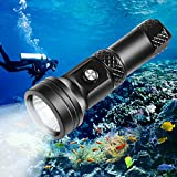 VOLADOR Scuba Diving Flashlight, DF40 4000 Lumen Underwater Dive Light with Power Indication, XHP 70 LED IPX-8 Waterproof Night Dive Torch, Rechargeable 26650 Battery, Charger, Lanyard