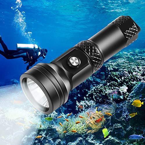 VOLADOR Tauchen Taschenlampe, 4000 Lumen Tauchlampe CREE XHP 70.2 Unterwasser Taschenlampe mit Knopfschalter, 3 Helligkeit 150M Unterwasser Wasserdicht Tauchtaschenlampe mit 1*26650 Akku und Ladegerät