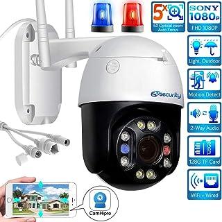 Cámara H.265 5MP Wifi PTZ cámara IP de zoom 5x cámara domo de alta velocidad CCTV al aire libre visión nocturna impermeable 66 audio de 2 canales detección de movimientotarjeta SD 128G de apoyo