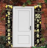 50 Cumpleaños Pancarta Oro Negro,Decoración de Fiesta de 50 Cumpleaños,50 Años Oro Negro Pancarta,50 Cumpleaños Cartel de Porche Decoración Colgante Pancarta de Bienvenida