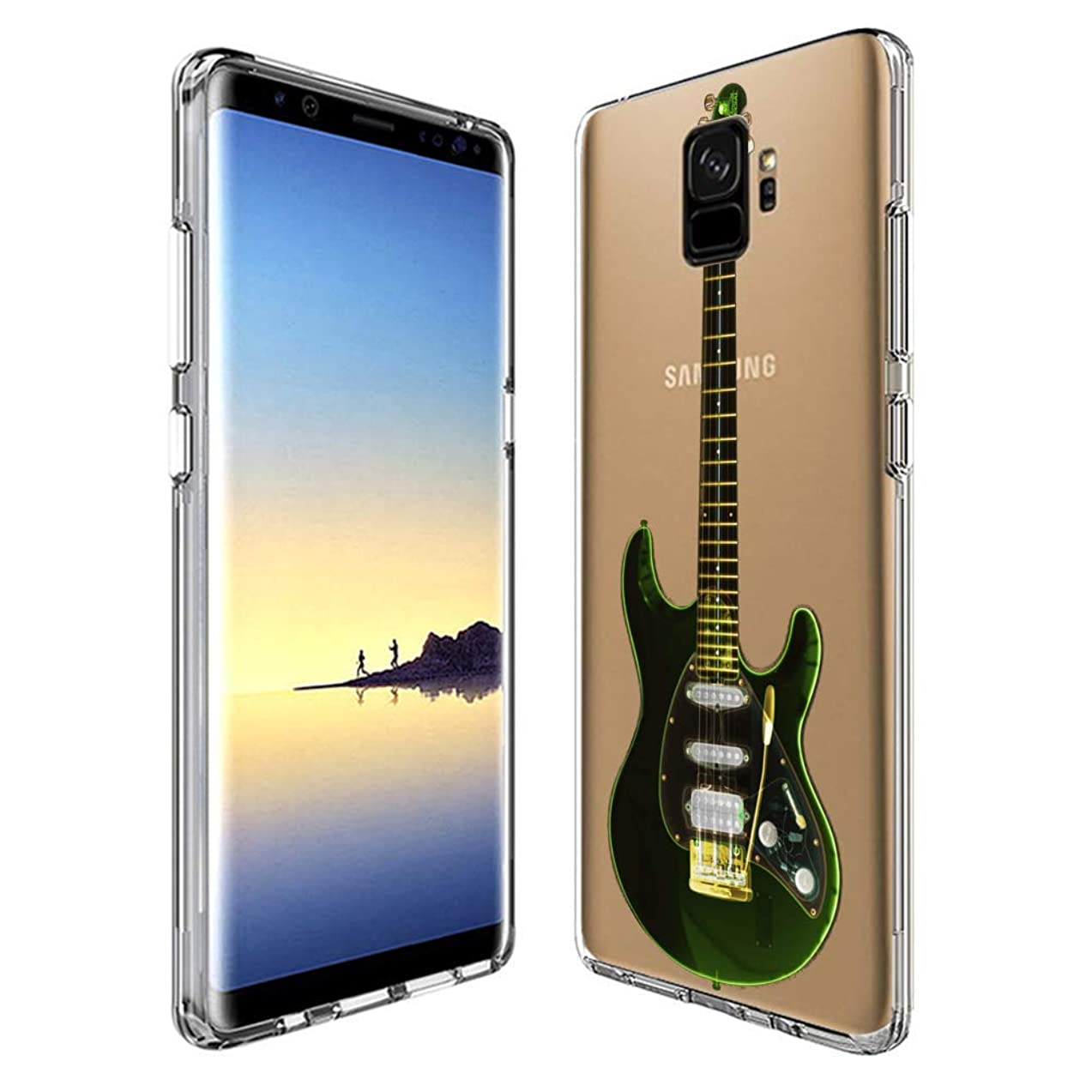 Samsung Galaxy S9 Case Guitar,UV Print Clear Transparent Case Scratch Resistant Shock-Absorbing Case Soft Flexible Protective Case for Samsung Galaxy S9