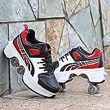 Patines De Ruedas Para Exteriores,Zapatos Parkour Con Ruedas Para Niñas/Niños,Zapatos Para Caminar Automáticos,Zapatos Con Ruedas Para Patadas Retráctiles Para Adultos,Red rollershoes-40EU