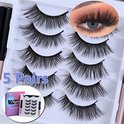 UNICK Hot Sale Long-lasting Waterproof Handmade Natural Long With Tweezer Magnetic Eyeliner Lash Extension Magnetic Eyelashes(Y-25) 9