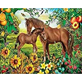 GYKLY Kit per Diamond Painting 5D, Cavallo nel frutteto Scatola da Ricamo per Artigianato Adulti o Bambini,40X50cm