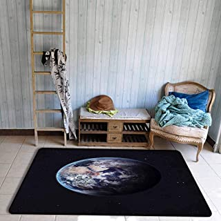 Children's Rugs Playrug Rugs Galaxy Planet Earth Outer Space Scenery of Globe Light Years Orbit Discovery Artprint Anti-Fading W39 xL63 Dark Blue Grey