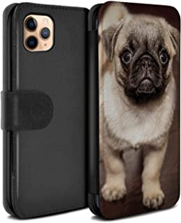 eSwish PU Leather Wallet Flip Case/Cover for Apple iPhone 11 Pro Max/Cute Pug Dog Puppy Design/Cute Baby Animal Photos Collection