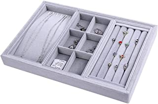 3 in 1 Multifunctional Jewelry Box Jewelry Display Plate Necklace Ring Tray Flannel Jewelry Box Jewelry Storage Tray (Color : Gray)