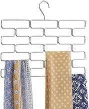 mDesign Percha para pañuelos – Colgador de pañuelos, chales, bufandas y fulares con 18 compartimentos – Organizador de accesorios para ahorrar espacio en interiores de armarios – plateado