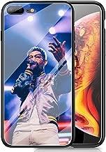 RUIWEI RWNO-216 Pnb Rock Rapper Designed for iPhone 7 Plus/8 Plus Case,Tempered Glass Back Cover and Black Anti-Scratch Shock Absorption Cover Case