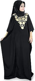 MyBatua Womens Kaftan Gold Embroidered Fancy Abaya Evening Gown Free Size Maxi Dress KF-024