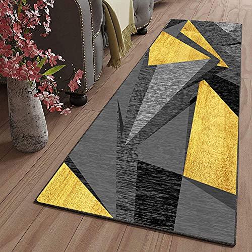 Tappeto passatoia Fantasia Antiscivolo Lavabile 60X260CM/23.58X102.18inches Rettangolo Colore grigio giallo