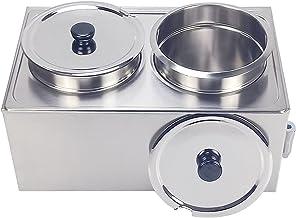 T-CAT Bain Marie Chauffe-plat en acier inoxydable 2 récipients 1200 W avec robinet d'écoulement 2 x 9 l
