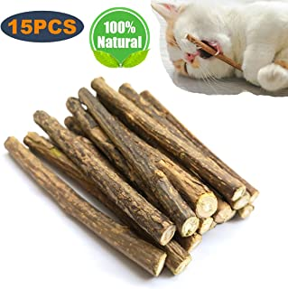 15PCS Natural Silvervine Sticks for Cats, Catnip Sticks Matatabi Chew Sticks Teeth Molar Chew Toys for Cat Kitten Kitty Teeth Cleaning