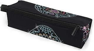 Glasses Case Rhinestone Studs Sugar Skull Multi-Function Zippered Pencil Box Makeup Cosmetic Bag for Women/Men