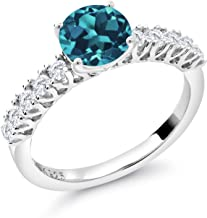 Gem Stone King 925 Sterling Silver London Blue Topaz and White Created Sapphire Women's Engagement Ring (1.73 Cttw Round Gemstone Birthstone Available in size 5, 6, 7, 8, 9)
