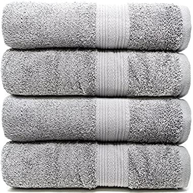 Zeppoli 4-Pack Bath Towels Set (27  x 54 ) 100% Cotton Grey Towels - Mildew Resistant, 500 GSM Soft and Absorbent Bathroom Towels - Make Great Hotel Towels, Gym Towels, Shower Towels and Spa Towels