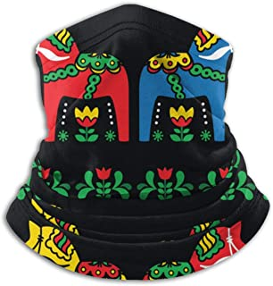 Swedish Dala Horse Folk Washable Entrance Unisex Winter Fleece Neck Warmer Gaiters Hairband Cold Weather Tube Face Mask Thermal Neck Scarf Outdoor Uv Protection Party Cover
